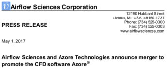 Airflow Sciences and Azore Technologies Merger Azore CFD